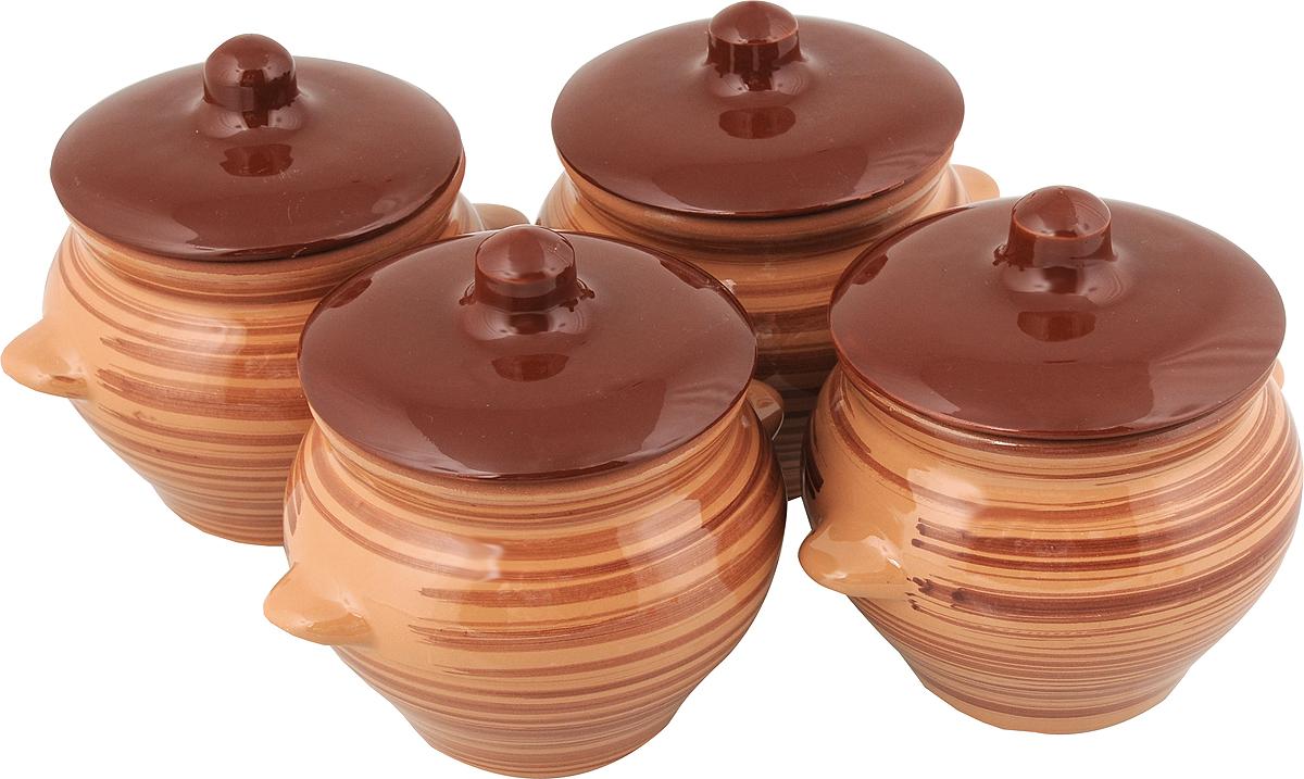 Набор горшочков для запекания Борисовская керамика Стандарт, с крышками, цвет: коричневый, 500 мл, 4 штОБЧ00000076_ коричневыйНабор Борисовская керамика Стандарт состоит из 4 горшочков для запекания с крышками. Каждый предмет набора выполнен из высококачественной керамики. Уникальные свойства красной глины и толстые стенки изделия обеспечивают эффект русской печи при приготовлении блюд. Блюда, приготовленные в керамическом горшке, получаются нежными и сочными. Вы сможете приготовить мясо, сделать томленые овощи и все это без капли масла. Это один из самых здоровых способов готовки. Можно использовать в духовке и микроволновой печи. Диаметр горшка (по верхнему краю): 9,5 см.Высота стенок: 10,4 см. Объем: 500 мл.