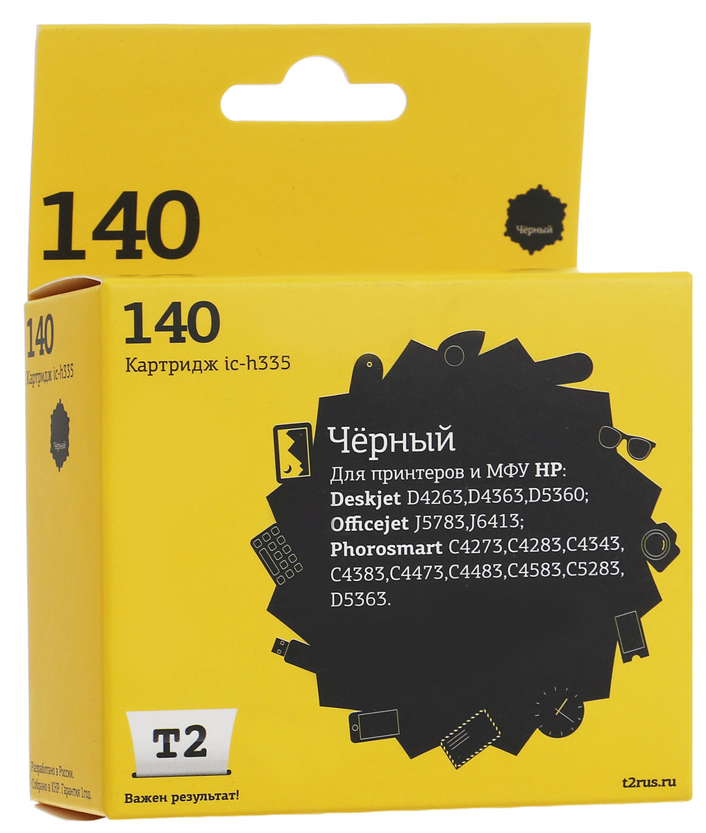 T2 IC-H335 картридж для HP Deskjet D4263/D5360/Officejet J5783/J6413/Photosmart C4273 (№140), Black картридж с чернилами compatible for hp 140 xl hp hp deskjet 5363 d4263 officejet 6413 j5783 photosmart c4283 c4343 c5283 d5363