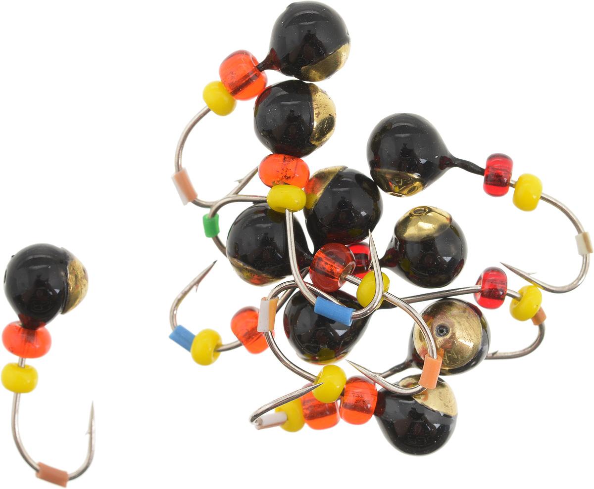 Мормышка вольфрамовая Dixxon Шар, с отверстием, с бисером, диаметр 4,5 мм, 0,95 г, 10 шт. 59415