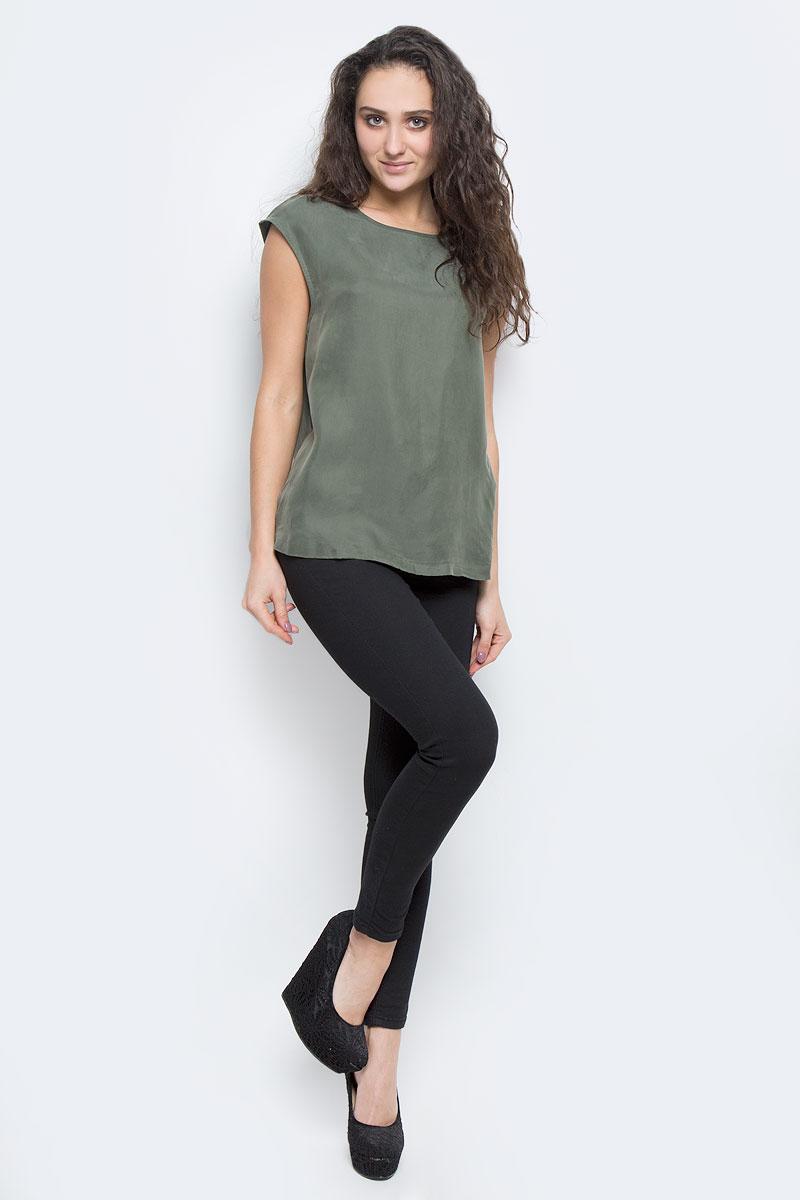 Блузка женская Selected Femme, цвет: темно-зеленый. 16051746. Размер 40 (46) джинсы женские selected femme цвет темно серый 16054240 размер 29 32 46 32