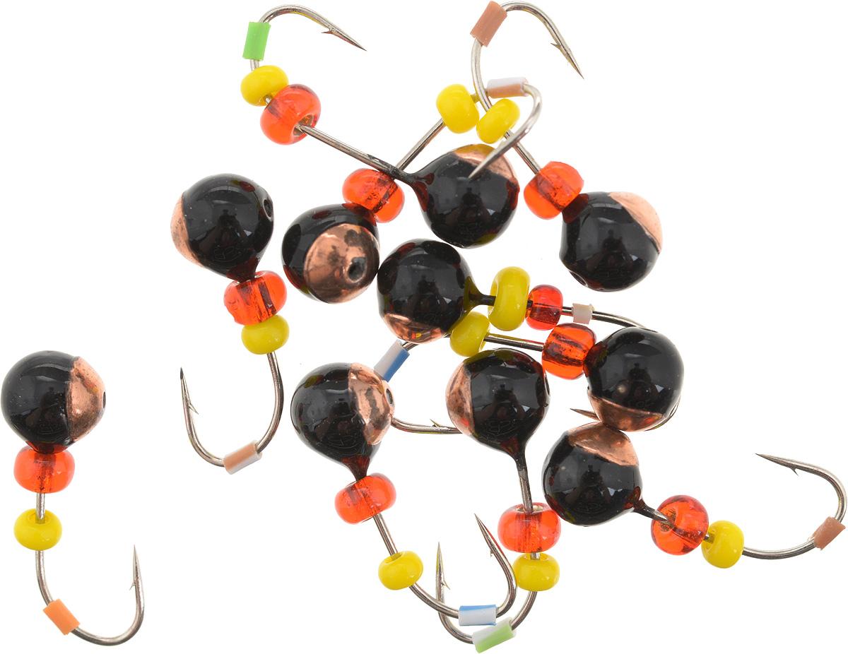 Мормышка вольфрамовая Dixxon Шар, с отверстием, с бисером, диаметр 4,5 мм, 0,95 г, 10 шт. 59416