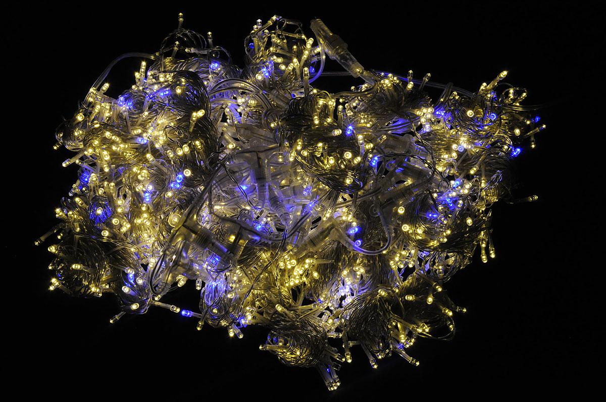Электрогирлянда B&H Световой занавес, 1250 светодиодов, 2,4 мBH0116-WWBЭлектрогирлянда B&H Световой занавес предназначена для декора окон, витрин, стен и потолочных проемов. Изделие представляет собой провода, на которых расположено 1000 светодиодов с теплым белым свечением и 250 мигающих светодиодов с синим свечением. Гирлянды B&H Световой занавес можно соединить между собой (до 5 гирлянд).Количество нитей: 25.Длина шнура питания: 3 м.Длина гирлянды: 2,4 м.Расстояние между нитями: 10 см.Длина нитей: 6 м.Максимальная длина при соединения гирлянд: 12 м.Количество диодов: 1000 теплых белых, 250 синих мигающих.