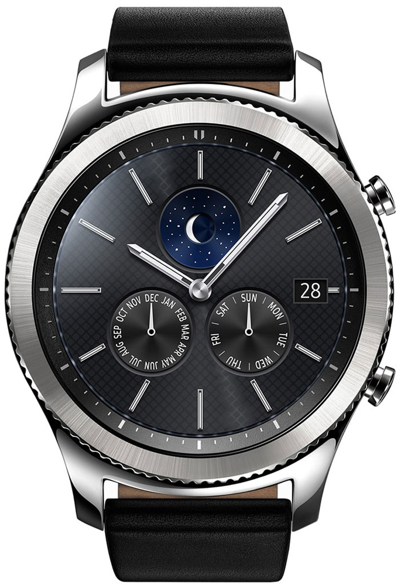 Samsung Gear S3 Classic, Silver смарт-часыSM-R770NZSASERSamsung Gear S3 Classic - современная классика на вашем запястье, сочетание винтажного дизайна и современных технологий. Риски на безель нанесены с помощью лазера. Кнопки, выполненные в стиле классических заводных головок, гармонично дополняют дизайн корпуса. Gear S3 classic созданы с использованием сплава из нержавеющей стали 316L, обеспечивающей высокий уровень защиты. Gear S3 classic созданы, чтобы вы могли пользоваться ими несколько дней без подзарядки и подключения к смартфону.Gear S3 Classic вобрали в себя все самое лучшее от традиционных часов и инновационных устройств. Достаточно одного взгляда, чтобы оценить их потрясающий дизайн. А удобный ремешок, уникальный крутящийся безель, четкий циферблат и мощный аккумулятор делают смарт-часы такими удобными в использовании и позволяют пользоваться ими до 4-х дней без подзарядки.Обновленный полноцветный всегда активный экран практически неотличим от классического циферблата. Выбирайте интерфейс, который подходит вам. В часы уже загружены 15 вариантов дизайна экрана, а в Galaxy Apps вы найдете еще больше!Наслаждайтесь простотой использования Gear S3 Classic. Управляйте уведомлениями, регулируйте громкость, отвечайте на звонки, просто вращая безель в левую или правую сторону. Вы можете легко управлять своими часами даже мокрыми руками или в перчатках.Позвольте Gear S3 Classic быть вашим смартфоном. Встроенный динамик и микрофон дают возможность совершать и принимать звонки без вашего смартфона и прослушивать голосовые сообщения и напоминания. Кроме этого, вы можете наслаждаться любимыми треками благодаря встроенному музыкальному плееру.C Gear S3 Classic вы больше никогда не собьетесь с намеченного маршрута даже без смартфона. Благодаря встроенному GPS доступна возможность строить пешие маршруты, вычислять расстояние до пункта назначения, и даже находить поблизости лучшие кафе и рестораны.Подключите ваши Bluetooth-наушники и слушайте любимые треки во время трениро