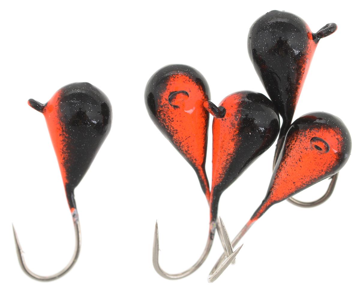 Мормышка вольфрамовая Asseri Капля, с ушком, цвет: черный, оранжевый, диаметр 5 мм, 1,54 г, 5 шт. CK5-RB