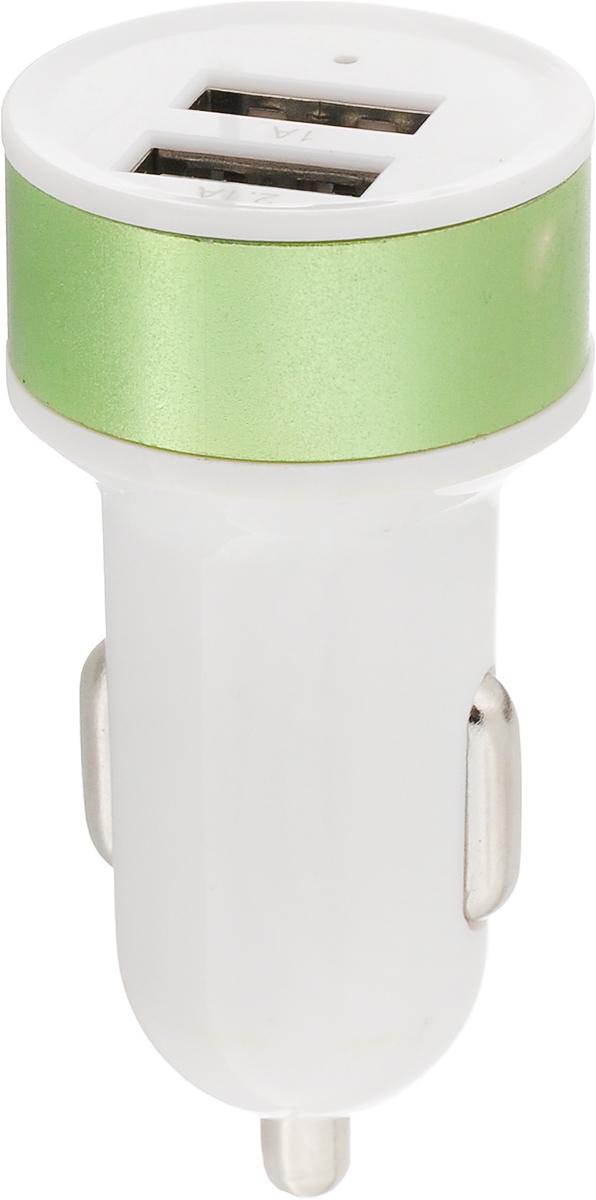 Адаптер автомобильный Главдор, цвет: белый, зеленый, 2 x USB, 12ВGL-269_белый, зеленыйАдаптер Главдор предназначен для зарядки мобильных телефонов, смартфонов, небольших планшетных ПК. Оснащен двумя USB выходами. При использовании одного выхода, ток до 2,1А, двух - 1А. Напряжение: 12В.