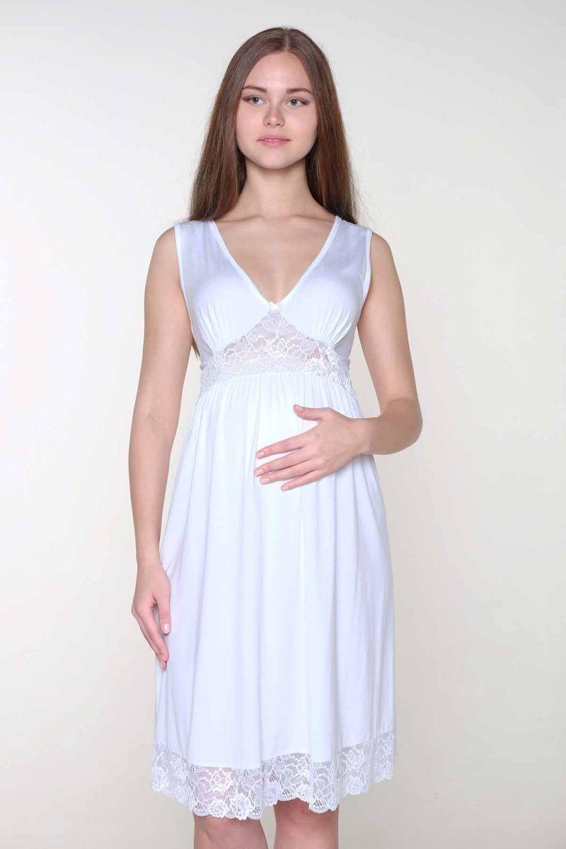 Сорочка для беременных и кормящих Hunny Mammy, цвет: белый. 1-ФП 17709. Размер 441-ФП 17709Элегантная сорочка для будущих мамочек выполнена из высококачественного хлопка с добавлением эласатна. Красивая отделка кружевом.