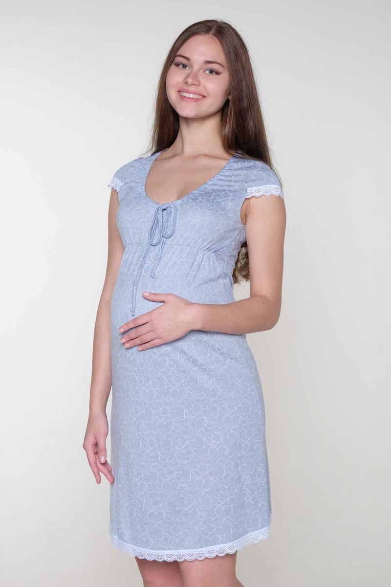 Сорочка для беременных и кормящих Hunny Mammy, цвет: серый, белый. 1-НМП 07309. Размер 461-НМП 07309Ночная сорочка выполнена из высококачественного вискозного материала. Элегантная сборка по горловине. Короткий рукав и низ сорочки отделаны кружевом.