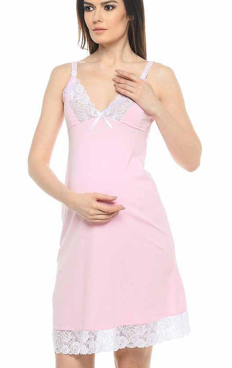 Сорочка для беременных и кормящих Hunny Mammy, цвет: розовый, белый. 1-НМП 10902. Размер 461-НМП 10902Удобная трикотажная ночная сорочка для беременных и кормящих Hunny Mammy изготовлена из высококачественного хлопкового материала с добавлением эластана. Сорочка с секретом для кормления, застежка-клипса. Чашка и низ сорочки отделаны кружевом.