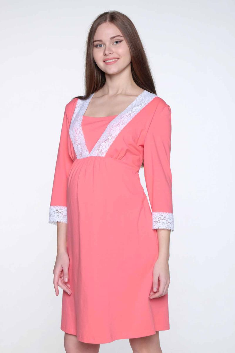Сорочка для беременных и кормящих Hunny Mammy, цвет: коралловый. 2-НМП 20402. Размер 42