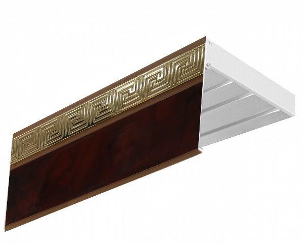 Багет Эскар Версаче, цвет: махагон, 5 х 300 см29509300Багет Эскар представляет собой изготовленную из поливинилхлорида (ПВХ) полую пластину, применяющуюся как потолочный карниз.Багет для карниза крепится к карнизным шинам. Благодаря багетному карнизу, от взора скрывается верхняя часть штор (шторная лента, крючки), тем самым придавая окну и интерьеру в целом изысканный вид и шарм.