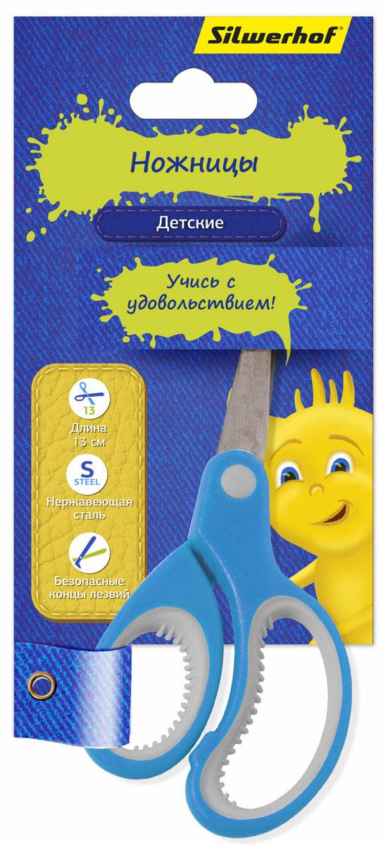 Silwerhof Ножницы детские Джинсовая коллекция цвет голубой 13 см453082Детские ножницы Silwerhof Джинсовая коллекция прекрасно подойдут для детского творчества. Лезвия выполнены из нержавеющей стали с закругленными концами, что делает процесс работы с ними безопасным для ребенка. Благодаря эргономичной форме пластиковых ручек модель отлично ложится как в детскую, так и во взрослую руку.Ножницы хорошо справляются с резкой бумаги, картона и станут незаменимым помощником в процессе создания аппликаций и других поделок.