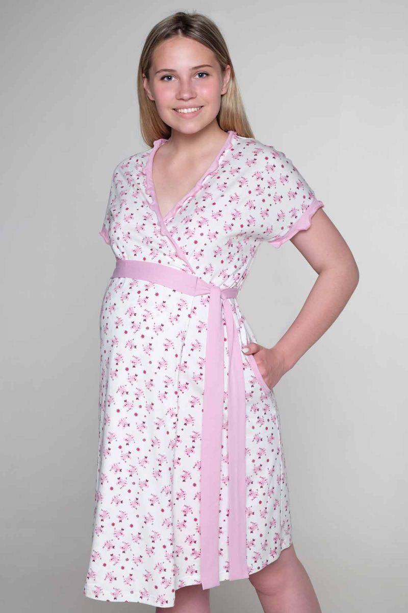 Комплект для беременных и кормящих Hunny Mammy: халат, сорочка ночная, цвет: молочный, розовый. 3-НМК 05821. Размер 463-НМК 05821Удобный комплект для беременных и кормящих мамочек состоит их халата и ночной сорочки. Легкий халат на запах с коротким рукавом, сорочка с клипсой для кормления.