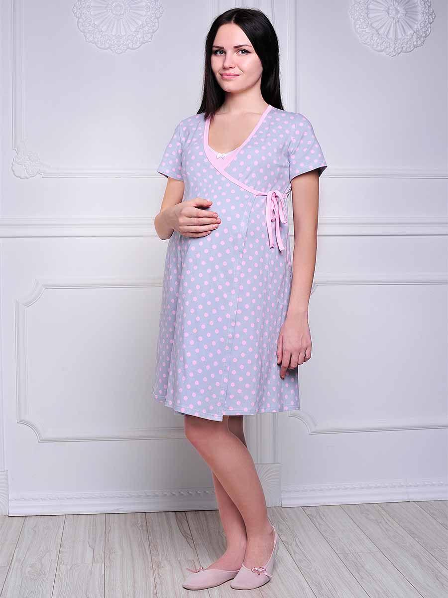 Комплект для беременных и кормящих Hunny Mammy: халат, сорочка ночная, цвет: серый, розовый. 3-НМК 05928. Размер 423-НМК 05928Удобный, красивый комплект для беременных и кормящих мам Hunny Mammy, изготовленный из эластичного хлопка, состоит из халата и сорочки, замечательно подходит для сна и отдыха. Халат на запах с короткими рукавами по бокам дополнен двумя втачными карманами. Сорочка свободного кроя на тонких бретелях дополнена клипсами для кормления. На груди она оформлена маленьким атласным бантиком.Такой комплект сделает отдых будущей мамы комфортным.Одежда, изготовленная из хлопка, приятна к телу, сохраняет тепло в холодное время года и дарит прохладу в теплое, позволяет коже дышать.