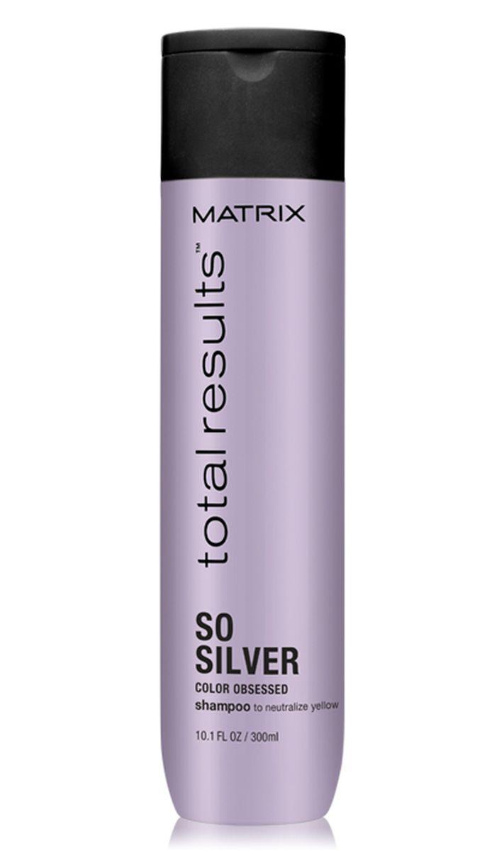 Matrix Total Results Color Obsessed So Silver Шампунь для нейтрализации желтизны, 300 млE1577700Шампунь Color Obsessed So Silver (Колор Обсэссд Соу Сильвер) нейтрализует тёплый медный оттенок и корректирует желтый подтон светлых, блондированных, мелированных и седых волос.