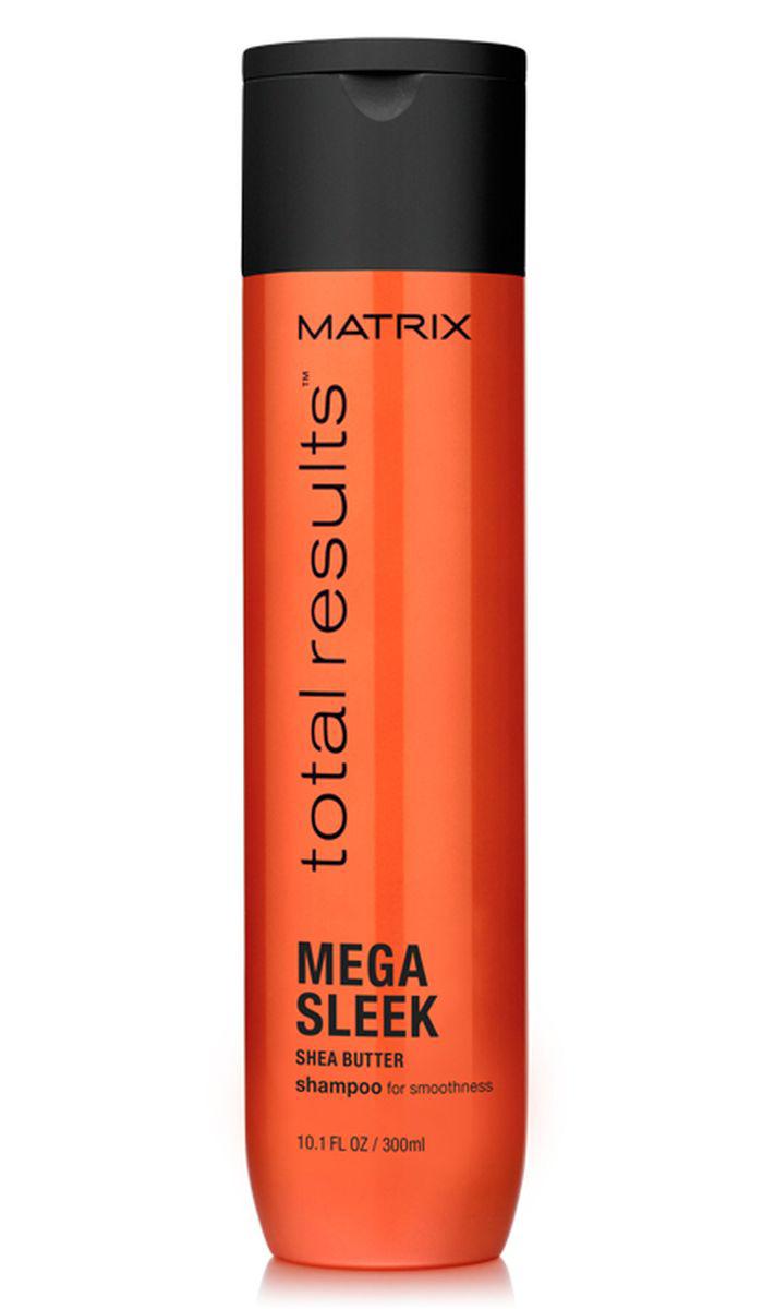 Matrix Total Results Mega Sleek Шампунь с маслом ши, 300 млE1574700Серия Total Results Mega Sleek ? это качественная профессиональная косметика для домашнего ухода за непослушными волосами, которая позволит волосам обрести мега-гладкость. Забудьте о том, что волосы могут пушиться или не слушаться и наслаждайтесь невероятно гладкими послушными локонами. Шампунь Mega Sleek с маслом ши укрощает непослушные волосы, защищает их от влажности, придаёт гладкость. Идеально подходит для волос с секущимися кончиками, а также окрашенных и поврежденных. Масло ши питает и придает невероятный блеск, а керамиды восстанавливают структуру волоса. Эффект виден уже после первого применения ? волосы становятся идеально гладкими и блестящими. Наилучший результат достигается при использовании в сочетании с шампунем, кондиционером и кремом для волос, который не требует смывания.