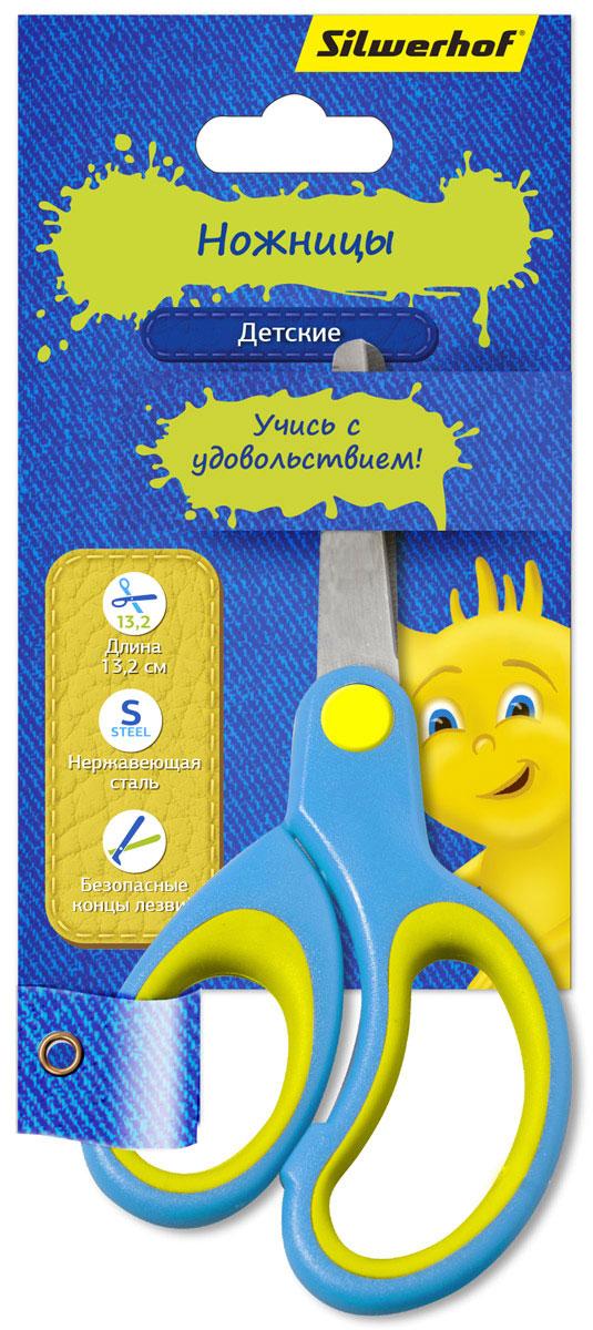 Silwerhof Ножницы детские Джинсовая коллекция цвет голубой 13,2 см453086Детские ножницы Silwerhof Джинсовая коллекция прекрасно подойдут для детского творчества. Лезвия выполнены из нержавеющей стали с закругленными концами, что делает процесс работы с ними безопасным для ребенка. Благодаря резиновым вставкам на кольцах ножницы не будут давить на пальцы и натирать.Ножницы хорошо справляются с резкой бумаги, картона и станут незаменимым помощником в процессе создания аппликаций и других поделок.