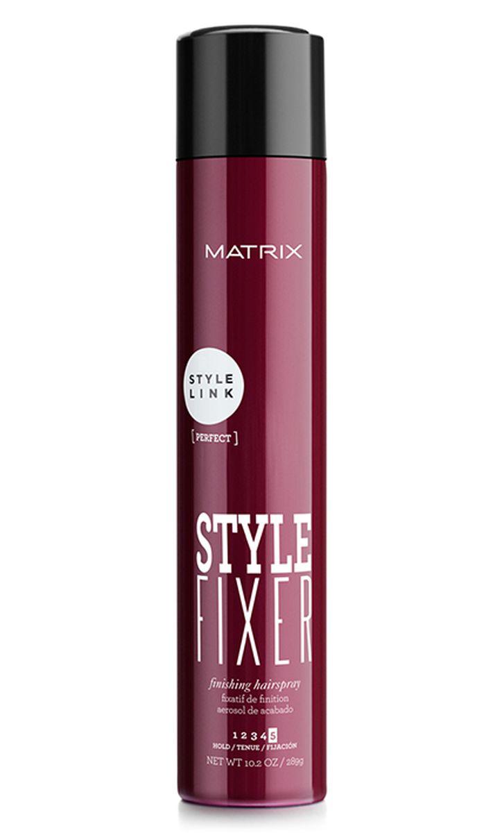 Matrix СТАЙЛ ФИКСЕР Лак-спрей СТАЙЛ ЛИНК 400 МЛE1055200Финишный лак-спрей Style Fixer (Стайл Фиксер) от MATRIX для завершения укладки. Обеспечивает сверхсухое нанесение, долговременную фиксацию и естественный блеск волос. Защищает укладку от повышенной влажности. Незаметен на волосах, не склеивает волосы.