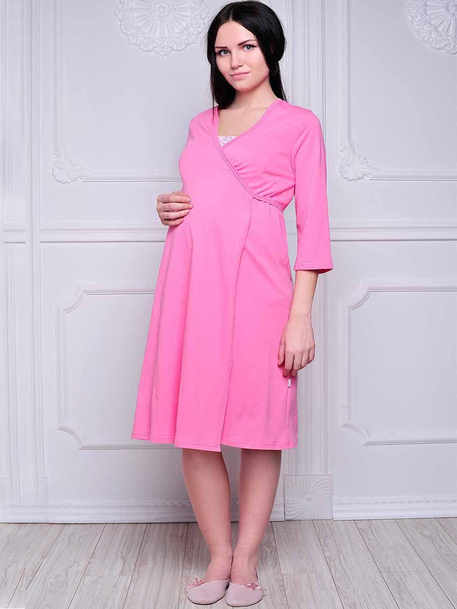 Стерильный комплект в роддом Hunny Mammy: халат, ночная сорочка, цвет: розовый, белый. КСР №1. Размер 56 комплект белья послеродовый стерильный п6 пелигрин