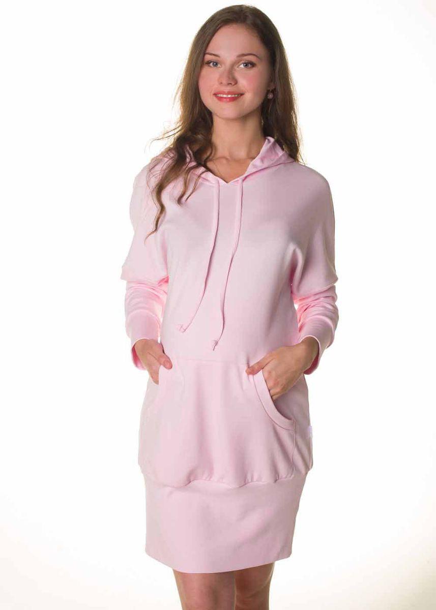 Платье домашнее для беременных и кормящих Hunny Mammy, цвет: розовый. О 06403. Размер 44О 06403Платье домашнее из эластичного трикотажного полотна. На полочке - накладной карман. Горловина изделия обработана капюшоном со шнурком. Рукав длинный на манжете. Низ изделия на широкой обтачке.