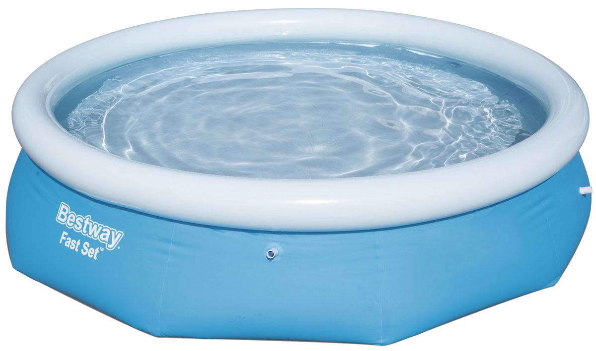 Бассейн с надувным бортом Bestway. 5726657266Бассейн надувной Bestway выполнен из высококачественного трехслойного ПВХ.Два слоя плотного винила и один - полиэстер для особой прочности. Чашаподдерживается надувным кольцом.Для установки бассейна выберите ровнуюповерхность, надуйте верхнее кольцо, наполните бассейн водой и наслаждайтеськупанием. Не заполняйте бассейн водой больше чем на 80%.