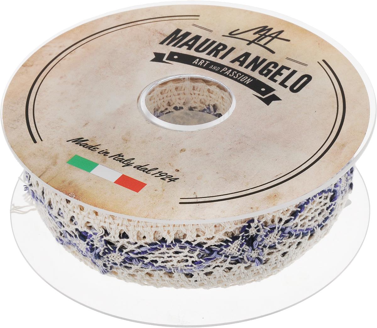 Лента кружевная Mauri Angelo, цвет: белый, синий, 3,6 см х 10 мMR3498/PL/3Декоративная кружевная лента Mauri Angelo - текстильное изделие без тканой основы, в котором ажурный орнамент и изображения образуются в результате переплетения нитей. Кружево применяется для отделки одежды, белья в виде окаймления или вставок, а также в оформлении интерьера, декоративных панно, скатертей, тюлей, покрывал. Главные особенности кружева - воздушность, тонкость, эластичность, узорность.Декоративная кружевная лента Mauri Angelo станет незаменимым элементом в создании рукотворного шедевра. Ширина: 3,6 см.Длина: 10 м.