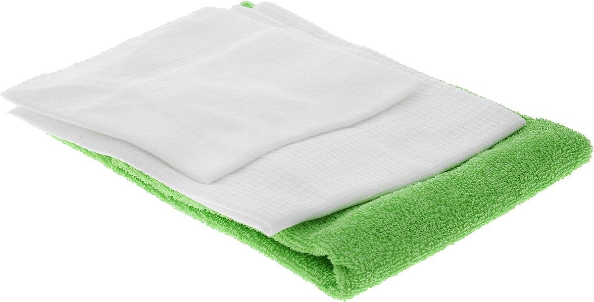 Набор салфеток для мойки и полировки автомобиля Главдор, цвет: зеленый, белый, 3 штGL-90-004_зеленый, белыйНабор салфеток для мойки и полировки автомобиля Главдор состоит из 3 различных по фактуре салфеток, выполненных из 100% хлопка. Вафельная салфетка подходит для протирки насухо любых поверхностей автомобиля после мойки и других работ, а также для бытового применения. Махровая салфетка подходит для удаления пыли, нанесения очистителей и полиролей, а также для располировки автомобильной косметики. Фланелевая салфетка подходит для ухода за внешними и внутренними частями автомобиля - удаление излишней влаги, пыли и загрязнений. Размер салфеток: 37 х 37 см; 25 х 29 см; 39 х 39 см.