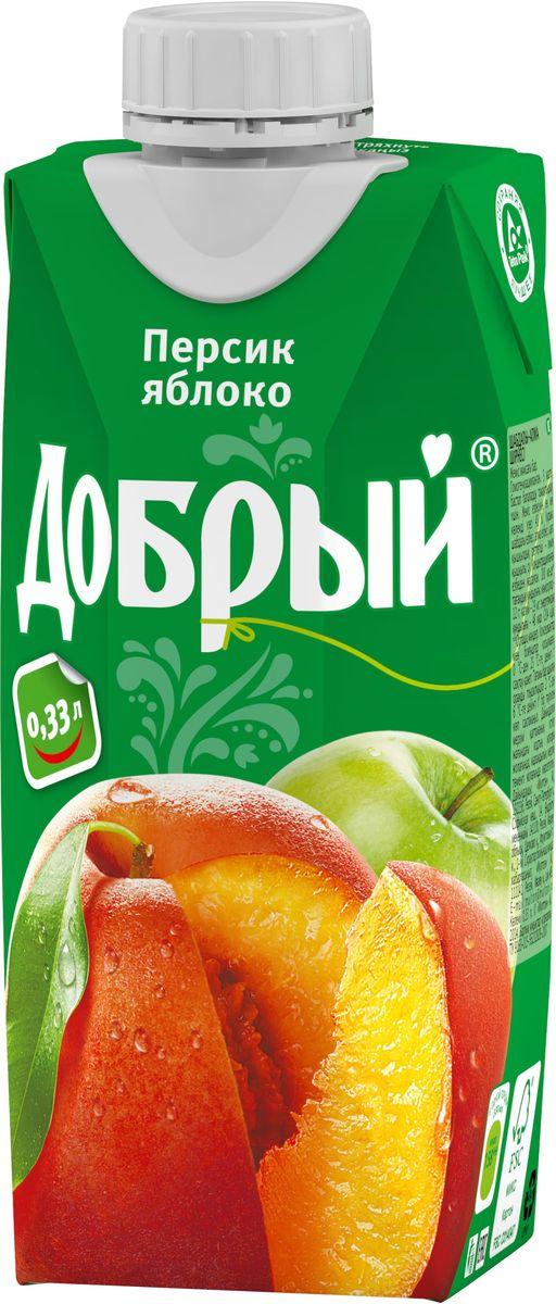 Добрый нектар Персик Яблоко, 0,33 л добрый нектар персик яблоко 2 л