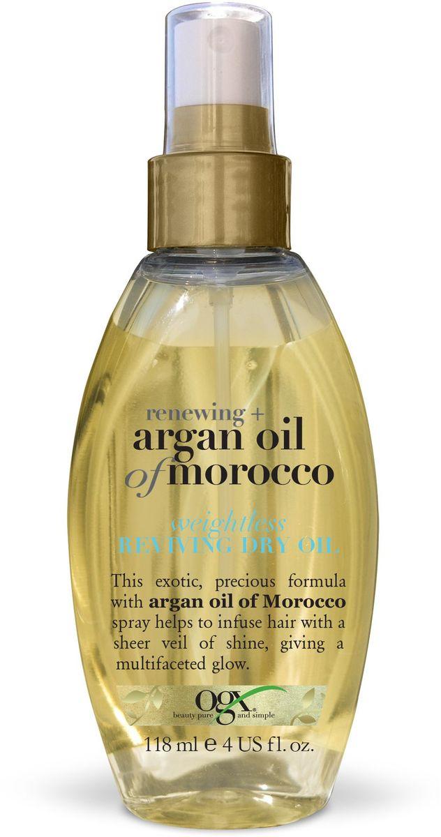OGX Легкое сухое аргановое масло для восстановления волос, 118 мл.65500416Невесомое сухое масло для восстановления волос с экстрактом Арганы - помогает восстановить секущиеся кончики и укрощает непослушные волосы. Обволакивают волосы прозрачной вуалью, придавая блеск и сияние.