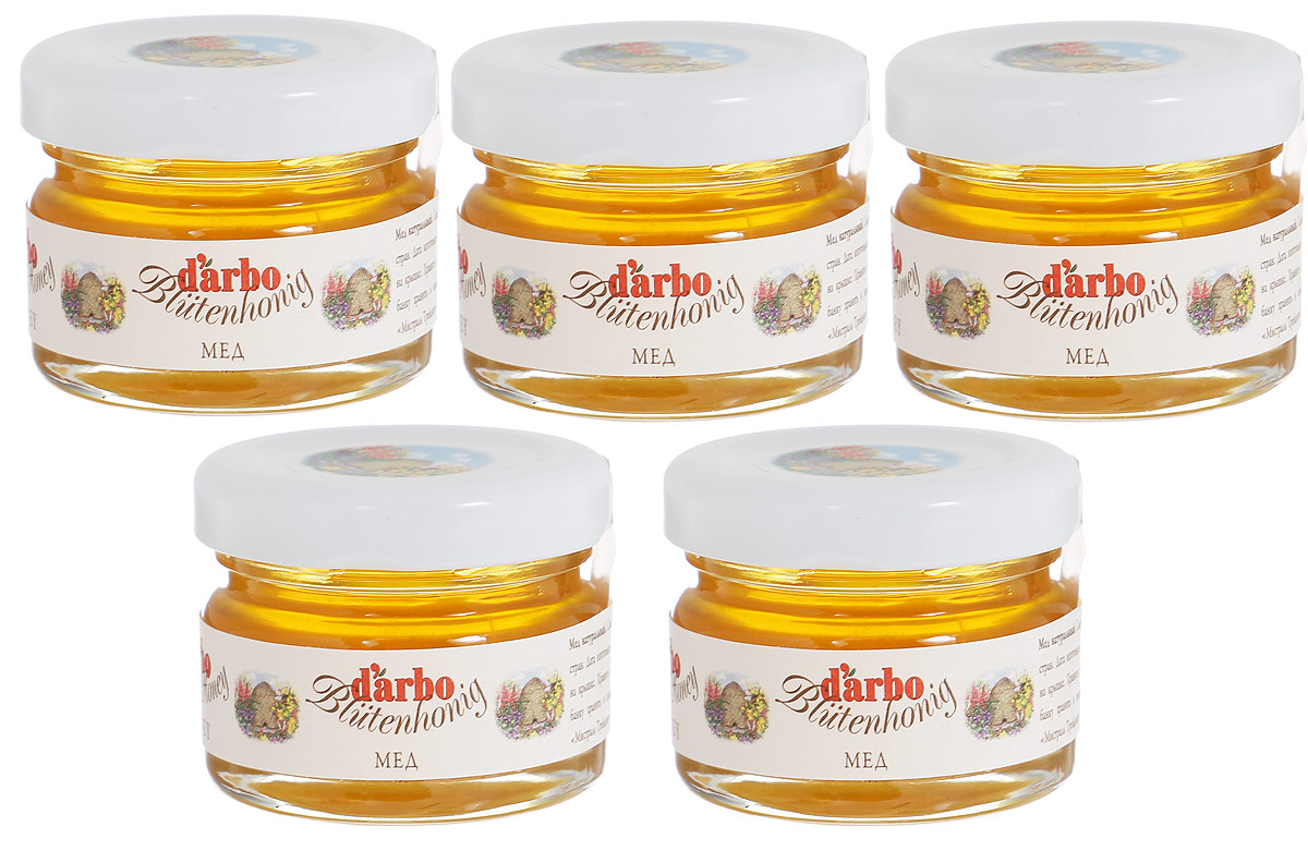 Darbo мед, 5 шт по 28 г24407Мед Darbo - это смесь сортов меда ЕС и других стран.Польза цветочного меда официально подтверждена научными исследованиями: доказано, что он является великолепным средством при лечении простудных заболеваний и бессонницы. Этот вид меда способен быстро восстанавливать силы, поэтому он полезен людям, которые перенесли сложные заболевания. Его успокоительные свойства используются при лечении психических расстройств. Также мед советуют употреблять впищу при заболеваниях пищеварительной и дыхательной систем, сердечно-сосудистой недостаточности и анемии. Подходит для поездок благодаря удобной банке с закручивающейся крышкой.Целебные сорта мёда. Статья OZON Гид