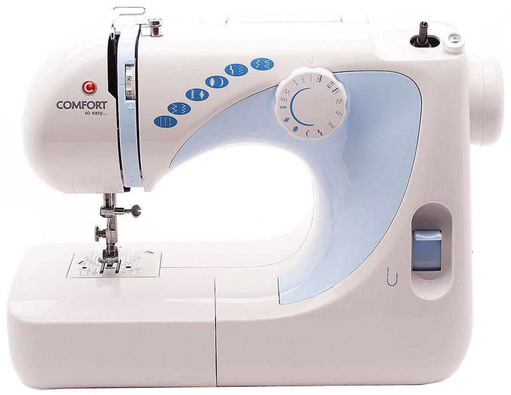Comfort 300 швейная машинаComfort 300Comfort 300 - продвинутая швейная машина, которая с легкостьюсправится с разными видами ткани.Данная модель способна выполнять целых 17 швейных операций, а также 12 видов стежков: прямая строчка, зигзаг, эластичная, декоративные, для сшивания ткани встык, оверлочная. Имеется возможность полуавтоматического изготовления петли под пуговицу. Присутствует также такая полезная особенность как подсветка рабочей зоны, которая позволит вам в ходе процесса шитья разглядеть мельчайшие детали.Машинка оснащена педалью для регулировки скорости шитья. Лапкодержатель выполнен из стали. Также стоит отметить присутствие отключения привода для намотки шпульки. Прибор прост в эксплуатации, а также имеет приятный и эргономичный дизайн.