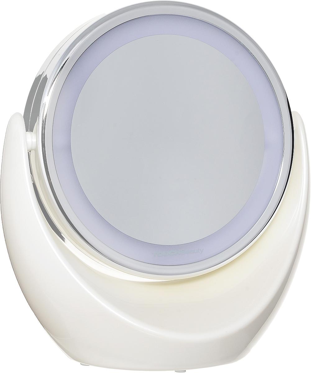 Зеркало с подсветкой Touchbeuty AS-0678AS-0678Двустороннее косметическое зеркало со светодиодной подсветкой голубого цвета, диаметр 13,4 см. Пятикратное увеличение одной из сторон и светодиодная равномерная подсветка создает удобство при уходе за лицом. Компактные размеры зеркала не стесняют пространство. Вращается на 360 °. Стильный дизайн. Питание: 3 батарейки АА
