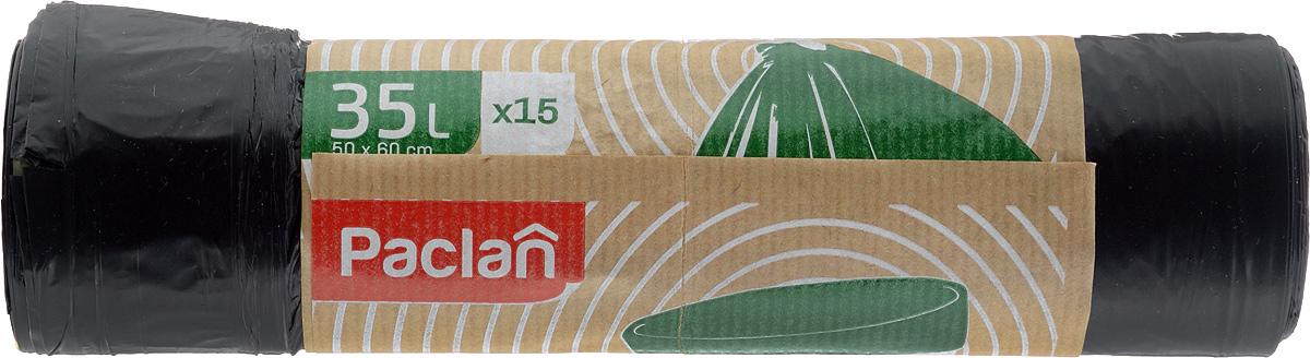 Пакеты для мусора Paclan Eco Line, с завязками, 35 л, 15 шт133770Пакеты для мусора Eco Line имеют высокую толщину и плотность материала, что позволяет применять их для выноса большого количества мусора при проведении строительных и ремонтных работ, сезонных уборок уличных территорий. Специальные прочные и удобные завязки помогут легко завязать пакет. Пакеты в рулоне, отрываются строго по линии отрыва.Размер пакета: 50 х 60 см.