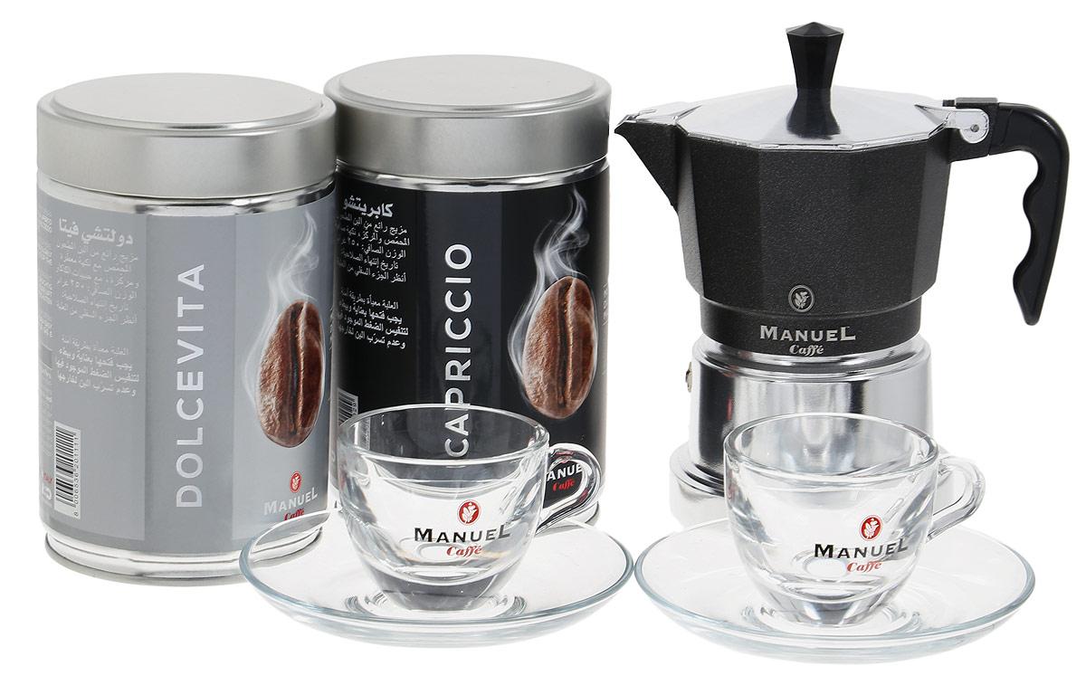 Manuel Caffe Gift Box Black подарочный набор молотого кофе, 1,5 кг8006536201531Подарочный набор молотого кофе Manuel Caffe Gift Box Black представлен известной итальянской компанией Manuel, которая предлагает всем любителям душистого кофе познать волшебный мир итальянского кофе и побаловать себя роскошным подарком.Подарочный набор состоит из двух упаковок отменного итальянского кофе - Capriccio и Dolce Vita (по 250 грамм, в металлических банках), маленькой кофеварки, при помощи которой можно приготовить чашку ароматного напитка и двух кофейных пар эспрессо.Кофеварка, выполненная в современном стиле, станет изысканным дополнением в интерьере вашей кухни, а крепкий напиток, сваренный в таком стильном аксессуаре, подарит минуты бесподобного удовольствия.