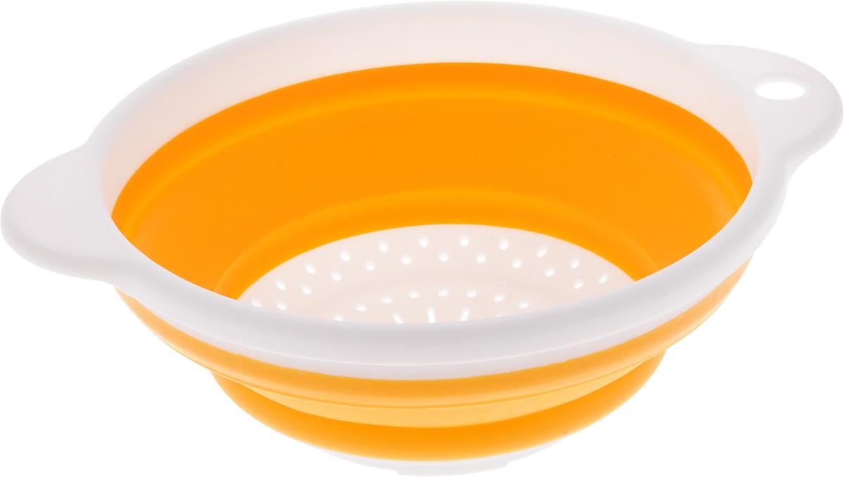 Дуршлаг Идея, складной, цвет: желтый. CLD-02CLD-02_бежевый, белыйДуршлаг складной Идея, изготовленный из высококачественного пищевого пластика и силикона, станет полезным приобретением для вашей кухни. Он идеально подходит для процеживания, ополаскивания макарон, овощей, фруктов. Нельзя мыть и сушить в посудомоечной машине.Внутренний диаметр: 18 см. Размер (в разложенном виде): 23 х 20 х 9 см.Размер (в сложенном виде): 23 х 20 х 3 см.