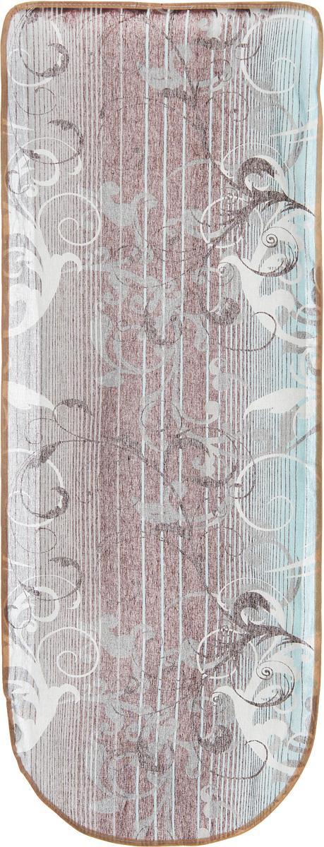 Чехол для гладильной доски Eva, цвет: коричневый, бирюзовый, белый, 125 х 47 см. Е13