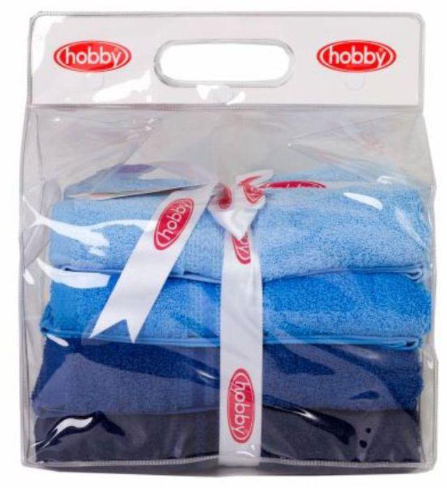 Набор полотенец Hobby Home Collection Rainbow, цвет: голубой, синий, темно-синий, 50 х 90 см, 4 шт1501001192Набор Hobby Home Collection Rainbow состоит из четырех махровых полотенец, выполненных из натурального 100% хлопка. Изделия мягкие, отлично впитывают влагу, быстро сохнут, сохраняют яркость цвета и не теряют форму даже после многократных стирок. Полотенца Hobby Home Collection Rainbow очень практичны и неприхотливы в уходе. Они легко впишутся в любой интерьер благодаря своей нежной цветовой гамме.Размер полотенец: 50 х 90 см.