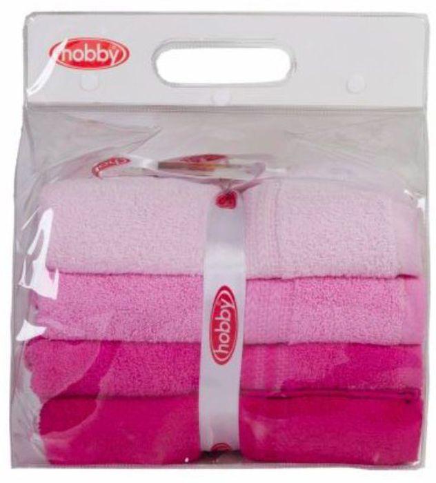 Набор полотенец Hobby Home Collection Rainbow, цвет: светло-розовый, розовый, фуксия, 50 х 90 см, 4 шт набор махровых полотенец issimo home jacquelyn цвет бежевый 30 x 50 см 4 шт