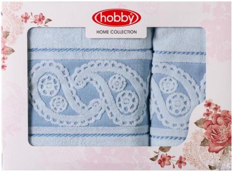 Полотенце махровое Hobby Home Collection Hurrem, цвет: голубой, 50 х 90 см, 70 х 140 см, 2 шт