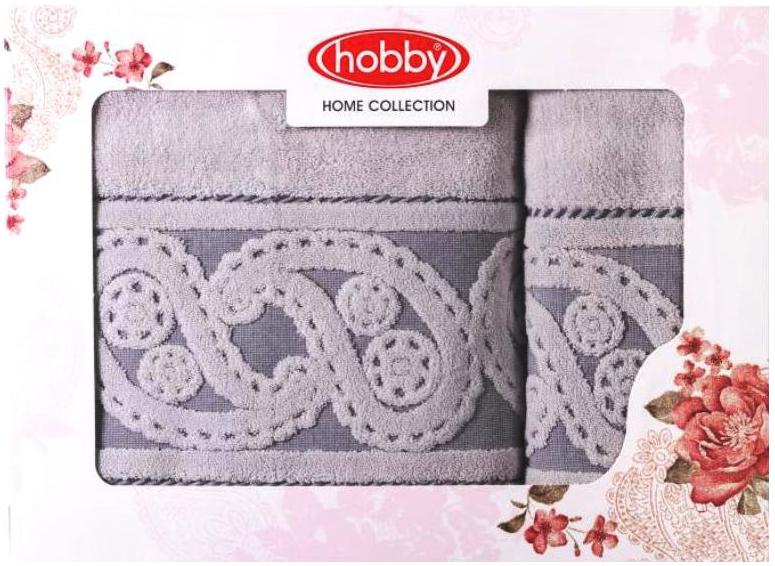 Набор полотенец Hobby Home Collection Hurrem, цвет: серый, 2 шт