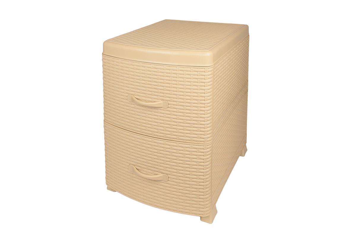 Комод-тумба Violet Ротанг, двухсекционный, цвет: бежевый, 38 х 48 х 52 см810577Универсальный комод-тумба с 2 выдвижными ящиками выполнен из экологически чистого пластика. Идеально подходит для хранения игрушек и других хозяйственных предметов. Может использоваться в качестве прикроватной тумбы.Поставляется в разобранном виде. Максимальная нагрузка на 1 ящик комода равна 12 кг.
