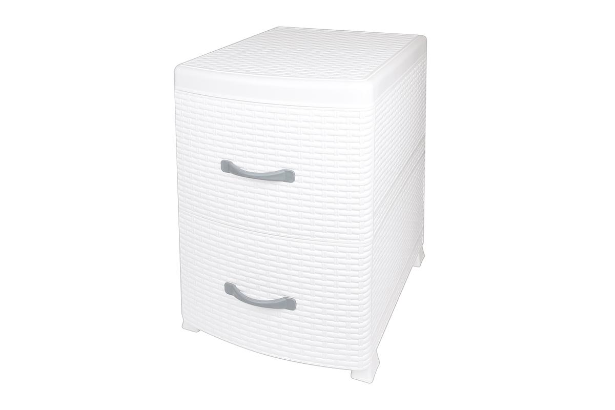 Комод-тумба Violet Ротанг, двухсекционный, цвет: белый, 38 х 48 х 52 см810579Универсальный комод-тумба с 2 выдвижными ящиками выполнен из экологически чистого пластика. Идеально подходит для хранения игрушек и других хозяйственных предметов. Может использоваться в качестве прикроватной тумбы.Поставляется в разобранном виде. Максимальная нагрузка на 1 ящик комода равна 12 кг.