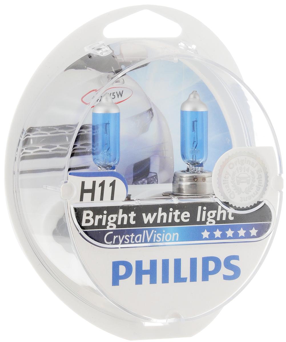 Лампа автомобильная галогенная Philips CrystalVision, для фар, цоколь H11 (PGJ19-2), 12V, 55W + цоколь W5W, 12V, 5W, 2 шт12362CVSMАвтомобильная галогенная лампа Philips CrystalVision произведена из запатентованного кварцевого стекла с УФ фильтром Philips Quartz Glass. Кварцевое стекло Philips в отличие от обычного твердого стекла выдерживает гораздо большее давление смеси газов внутри колбы, что препятствует быстрому испарению вольфрама с нити накаливания. Кварцевое стекло выдерживает большой перепад температур, при попадании влаги на работающую лампу изделие не взрывается и продолжает работать.Лампы Philips CrystalVision имеют мощный белый свет с цветовой температурой 4300К. Разработаны для водителей, которым необходимо яркое освещение на дороге и важен индивидуальный стиль. Увеличенная светоотдача позволяет гораздо лучше различать дорожные знаки и препятствия. Лампы подходят для всех погодных условий, особенно ощутимый визуальный комфорт при поездках в ночное время.Автомобильные галогенные лампы Philips удовлетворят все нужды автомобилистов: дальний свет, ближний свет, передние противотуманные фары, передние и боковые указатели поворота, задние указатели поворота, стоп-сигналы, фонари заднего хода, задние противотуманные фонари, освещение номерного знака, задние габаритные/стояночные фонари, освещение салона.