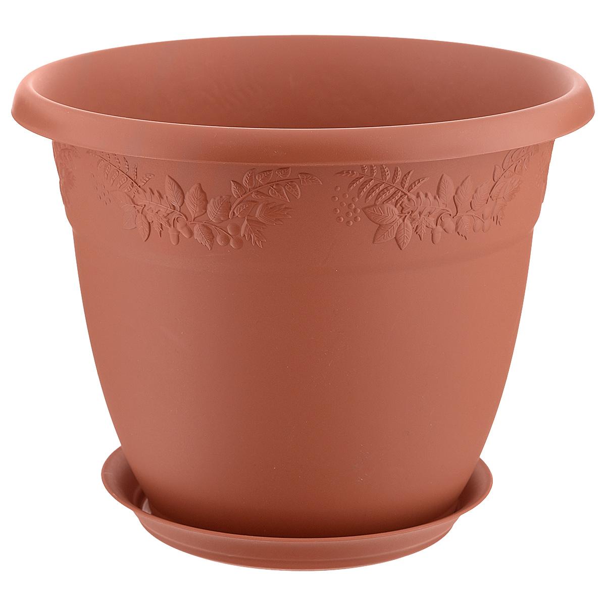 Кашпо Idea Рябина, с поддоном, цвет: терракотовый, 7,5 лМ 3057Любой, даже самый современный и продуманный интерьер будет не завершённым без растений. Они не только очищают воздух и насыщают его кислородом, но и заметно украшают окружающее пространство. Такому полезному &laquo члену семьи&raquoпросто необходимо красивое и функциональное кашпо, оригинальный горшок или необычная ваза! Мы предлагаем - Кашпо 7,5 л Рябина d=28 см, с поддоном, цвет терракотовый!Оптимальный выбор материала &mdash &nbsp пластмасса! Почему мы так считаем? Малый вес. С лёгкостью переносите горшки и кашпо с места на место, ставьте их на столики или полки, подвешивайте под потолок, не беспокоясь о нагрузке. Простота ухода. Пластиковые изделия не нуждаются в специальных условиях хранения. Их&nbsp легко чистить &mdashдостаточно просто сполоснуть тёплой водой. Никаких царапин. Пластиковые кашпо не царапают и не загрязняют поверхности, на которых стоят. Пластик дольше хранит влагу, а значит &mdashрастение реже нуждается в поливе. Пластмасса не пропускает воздух &mdashкорневой системе растения не грозят резкие перепады температур. Огромный выбор форм, декора и расцветок &mdashвы без труда подберёте что-то, что идеально впишется в уже существующий интерьер.Соблюдая нехитрые правила ухода, вы можете заметно продлить срок службы горшков, вазонов и кашпо из пластика: всегда учитывайте размер кроны и корневой системы растения (при разрастании большое растение способно повредить маленький горшок)берегите изделие от воздействия прямых солнечных лучей, чтобы кашпо и горшки не выцветалидержите кашпо и горшки из пластика подальше от нагревающихся поверхностей.Создавайте прекрасные цветочные композиции, выращивайте рассаду или необычные растения, а низкие цены позволят вам не ограничивать себя в выборе.
