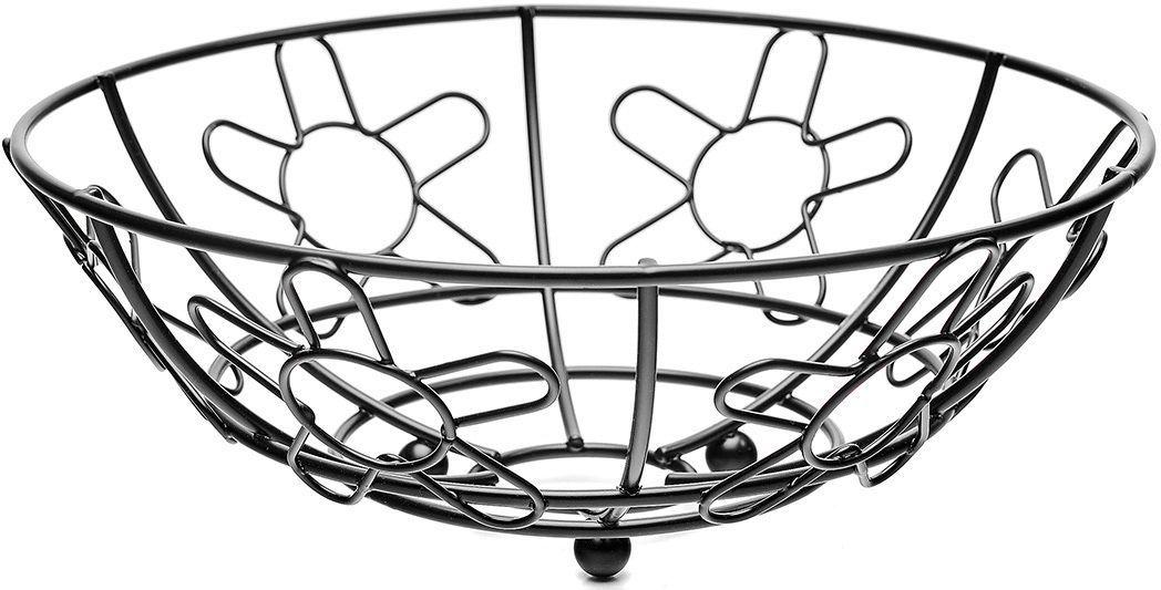 Корзина для фруктов Walmer Flower, цвет: черный, диаметр 24 смW14242496Каждому хочется иметь на своей кухне стильный и практичный аксессуар, которыйбудет не только красивой частью интерьера, но и прекрасным помощником. Именно такая вещь - корзина для фруктов из серии Flower от известной британской фирмы Walmer. Легкая, яркая и стильная - это то, что приходит в голову при взгляде на нее. Поставьте ее на стол к приходу гостей или во время семейного ужина, и вы увидите, как преобразится ваш интерьер. Корзина для фруктов не будет занимать слишком много места на вашей кухне, ведь ее окружность всего 24 см. Но, несмотря на свой небольшой размер, она очень вместительна. Корзина изготовлена в популярной и практичной круглой форме. Она удачнодополнит любой интерьер и станет удачным подарком для друзей и близких.