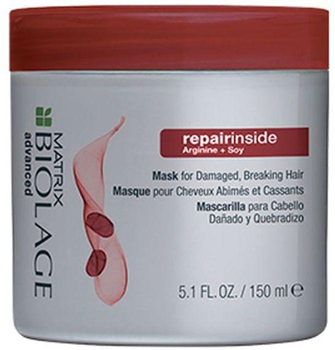 Matrix Biolage Repairinside Маска для реконструкции сильно поврежденных и ломких волос, 150 мл8437011863782Систематическое использование термоинструментов и химическое воздействие приводит к повреждению волос, и как следствие они теряют свою силу, становятся ломкими, секущимися и подверженными негативному воздействию окружающей среды. Гамма БИОЛАЖ РЕПЕРИНСАЙД, обогащенная маслом сои и аргинином, помогает реконструировать поврежденные волосы. Реконструкция волос на 75% после первого использования* Маска, обогащённая маслом сои и аргинином, помогает реконструировать сильно поврежденные волосы.Интенсивно увлажняет волосы, помогая восстановить их эластичность и блеск.*При использовании системы из шампуня, кондиционера и несмываемого ухода.