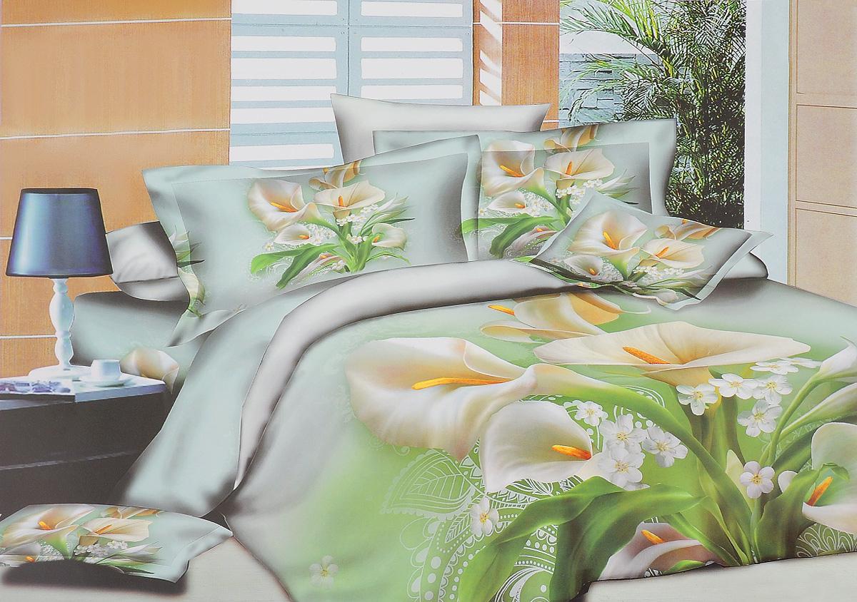 """Комплект постельного белья Mango """"Каллы"""" является   экологически безопасным для всей семьи, так как выполнен из   100% хлопка. Комплект состоит из пододеяльника, простыни и   двух наволочек. Наволочки застегиваются на   """"молнию"""". Постельное белье оформлено оригинальным   рисунком и имеет изысканный внешний вид.Легкая, плотная, мягкая ткань отлично стирается, гладится,   быстро сохнет. Рекомендуется стирка в прохладной воде при температуре не   выше 40°С.    Советы по выбору постельного белья от блогера Ирины Соковых. Статья OZON Гид"""