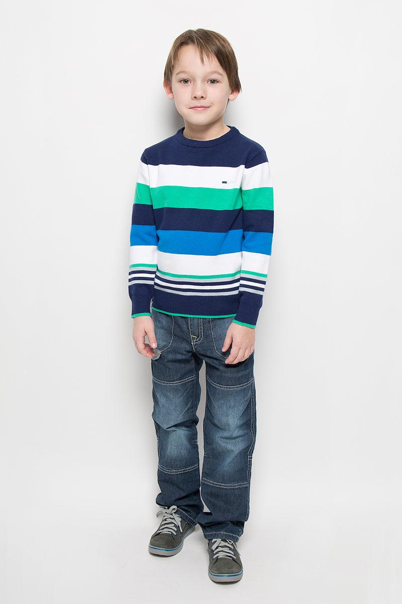 Джемпер для мальчика PlayToday, цвет: белый, синий, зеленый. 361156. Размер 98, 3 года361156Уютный джемпер для мальчика PlayToday изготовлен из вязаного эластичного трикотажа. Воротник, манжеты и низ изделия связаны широкой резинкой. Джемпер оформлен полосками разных цветов, украшен небольшой вышивкой на груди.