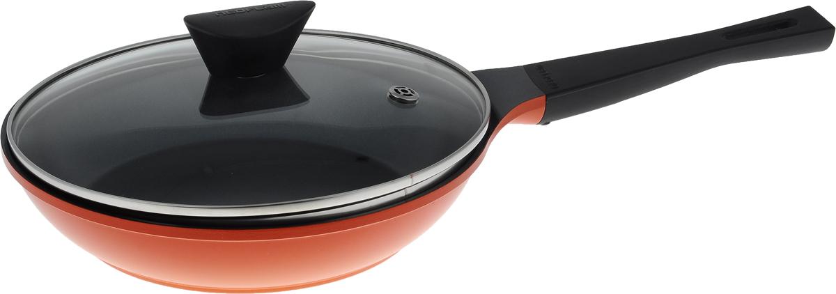 Сковорода Frybest Orange с крышкой, с керамическим покрытием. Диаметр 24 см