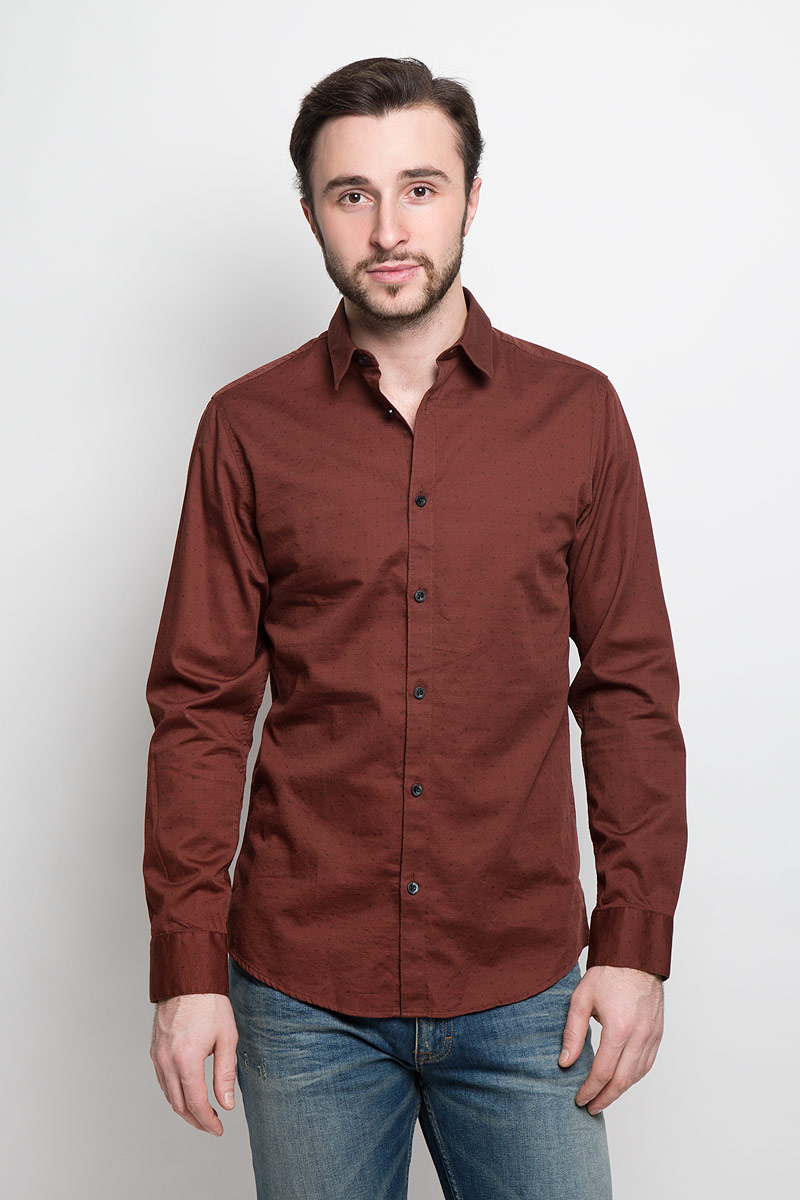 Рубашка мужская Selected Homme, цвет: коричневый. 16053266. Размер M (46) цена 2017