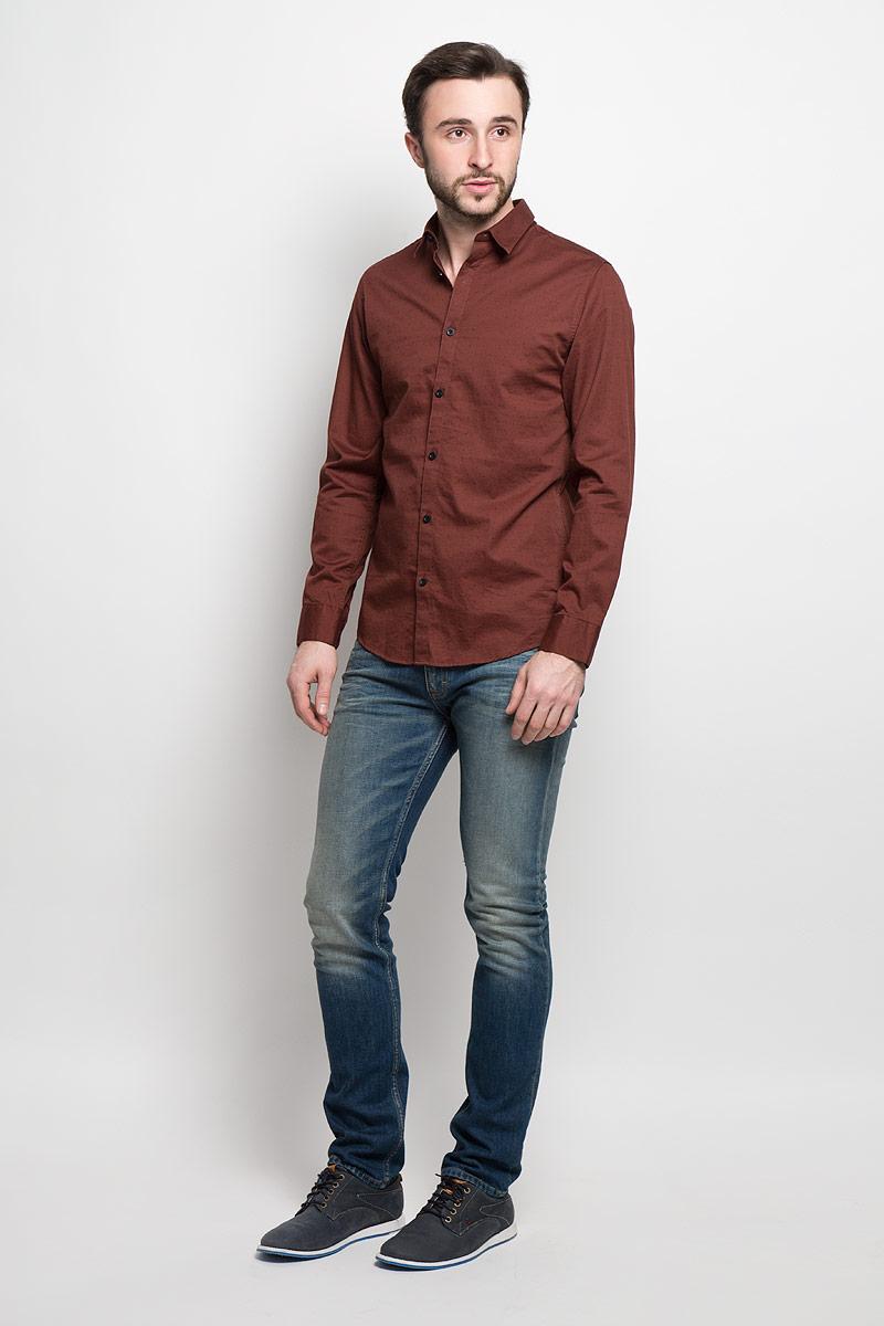 Рубашка мужская Selected Homme, цвет: коричневый. 16053266. Размер XXL (52) водолазка мужская selected homme identity цвет молочный 16052854 размер xl 50
